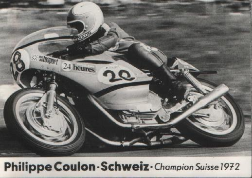 After Fritz Egli in 1968 on Egli-Vincent, Philippe Coulon was the winner in 1972 of the Swtitzerland Hillclimb championship.