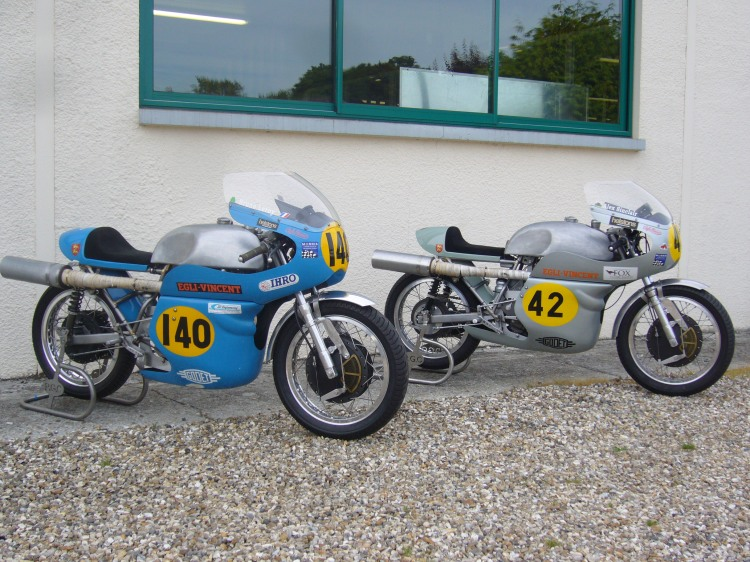 Bruno Leroy's bike (the Blue) with Alex Sinclair' bike (the Grey) in front of Patrick Godet's workshop.