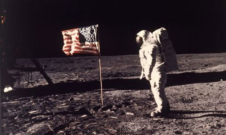 Astronaut Edwin E Aldrin poses for a photograph beside the U.S. flag deployed on the Moon during the Apollo 11 mission on July 20, 1969. Photograph: NEIL ARMSTRONG/AP