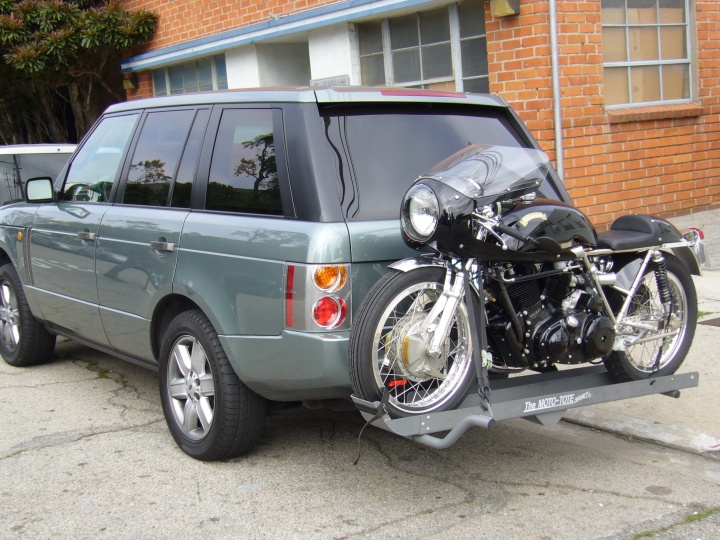The Egli-Vincent is compact and light, however this is quite a bold way to transport it...