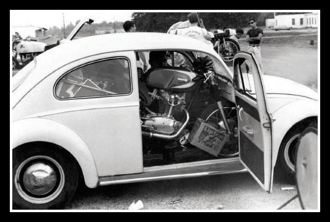Must be fun to fit this Ducati (250?) in, knowing that there is no hatch on this bug.