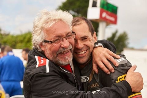 Emotional moment after Horst Saiger got his 10th position the the Classic Senior class ended., here with Juerg (left) Chief Mechanic of the Egli Racing Team