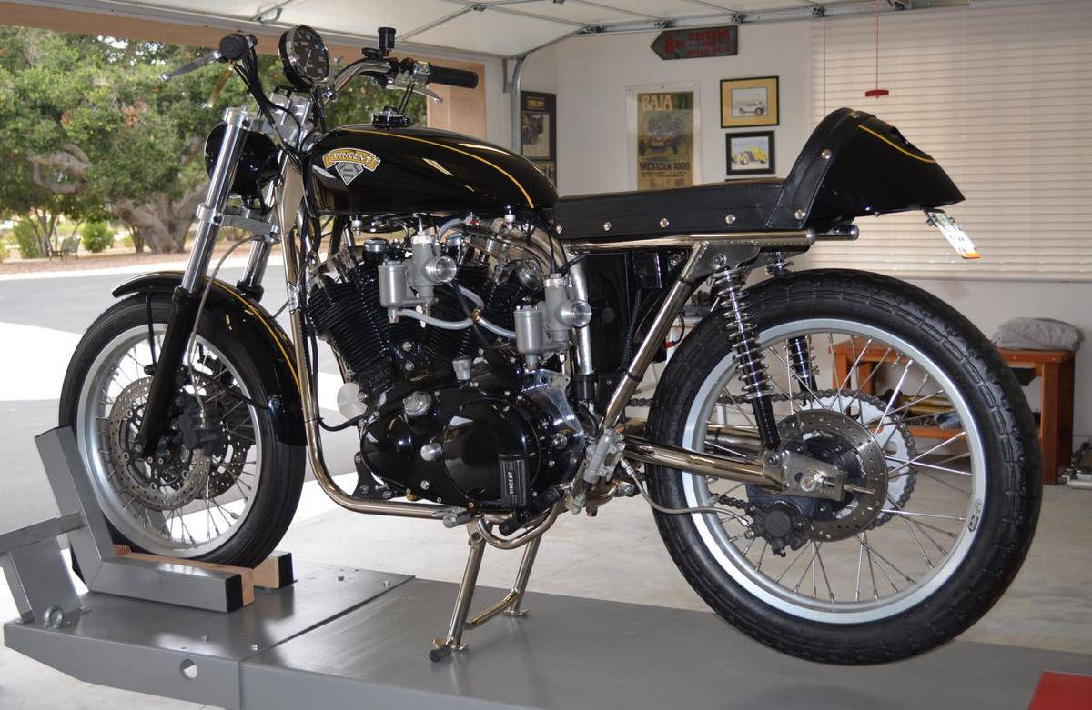 this bike is built around a 1952 vincent rapide engine with a chrome moly trackmaster racing frame with integral oil tank a lightweight matchless - Motorcycle Frames For Sale